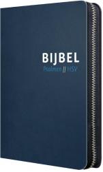 Bijbel (HSV) met Psalmen- blauw leer met